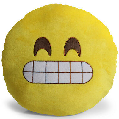 Emoji Grin Pillow Plush Round Cushion Stuffed Toy Doll for Kids Bed Chair Seat