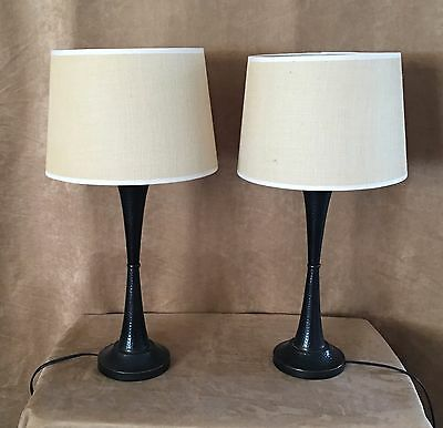 Arts & Crafts Mission Style Pair table lamp hammered metal drum shade