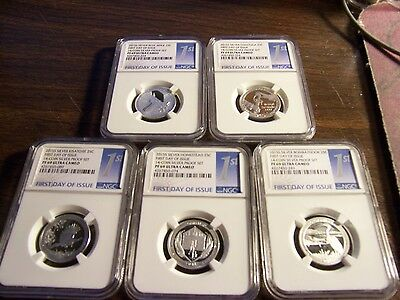 Ngc 2015 S Silver 5 Coin 25C Pf 69 Ultra Cameo-First Day Of Issue- Clean Slabs