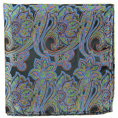 New Men's Polyester Woven pocket square hankie only blue green paisley wedding
