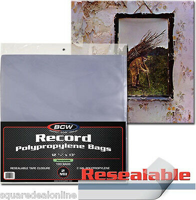 """(200) BCW BAG-33RPM-R 12"""" Record Outersleeves Resealable Polypropylene 2 Mil NEW"""