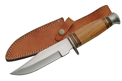 "FIXED-BLADE HUNTING KNIFE | 10"" Olive Wood Full Tang Skinner Blade with Sheath"