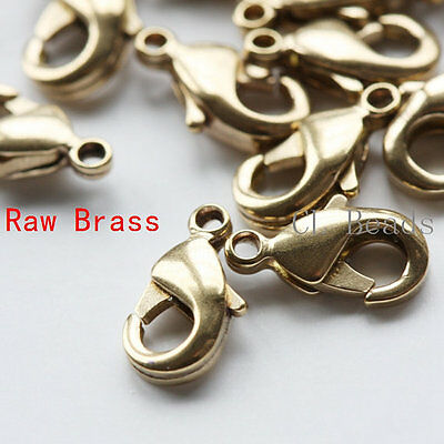 20 Pieces Raw Brass Round Lobster Clasp 9.5mm (1672C-I-324)