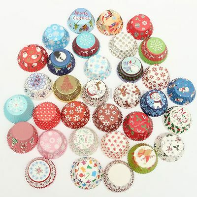 25/100x Xmas Colorful Paper Cake Cupcake Liner Case Wrapper Muffin Baking Cup