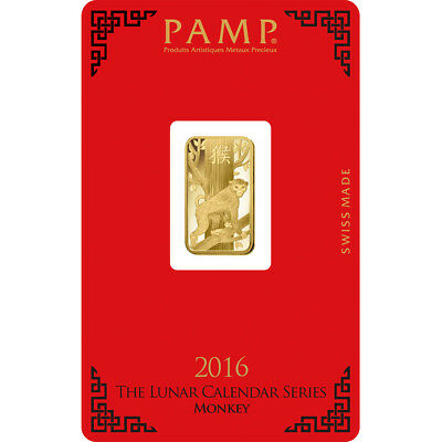 5 gram Gold Bar - PAMP Suisse - Lunar Year of the Monkey - 999.9 Fine in Assay