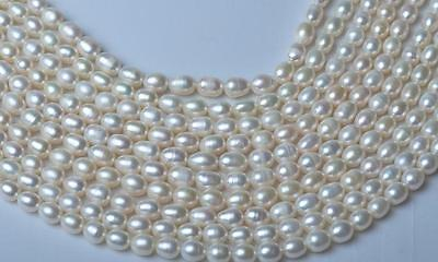 Jewelry making 1Strand Natural Freshwater Pearl Beads Rice shape White 8-9mm