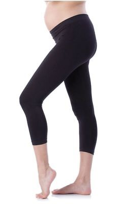 Cropped Very Comfortable Adjustable Maternity Cotton Leggings - Black - Size 12