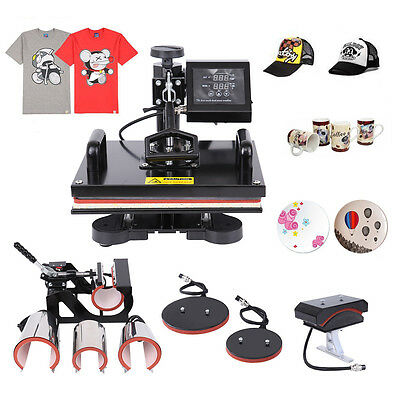 8 in 1 Heat Press Transfer Machine T-Shirt Mug Cap Sublimation Printer Printing