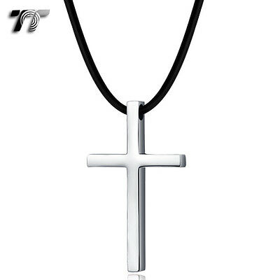 TT Stainless Steel Cross Pendant Necklace (NP320S) Small-Large Size Available