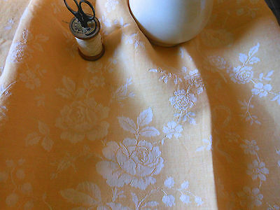 Antique Vtg. French Cheddar Yellow Gold Roses Garland Bow Damask Ticking Fabric