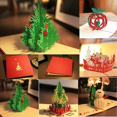 3D Pop Up Handmade Christmas Happy New Year A variety of styles Greeting Card W