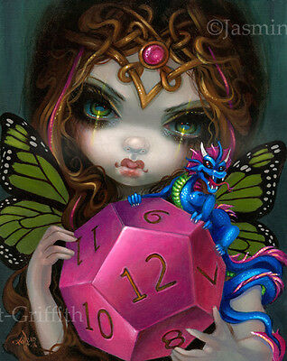 Jasmine Becket-Griffith art print d12 die dragon con SIGNED 12 Sided Dice Fairy