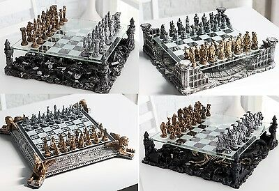 3D Pewter Chess Set Roman Gladiator Medieval Knight Fantasy Dragon Egyptian NEW