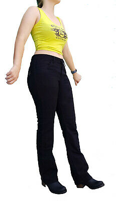 WOMEN MOTORCYCLE BLACK JEANS REINFORCED WITH DuPont™ KEVLAR® SIZE 10