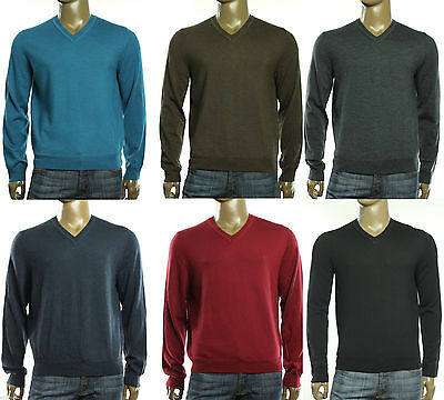 New The Mens Store Bloomingdales V Neck 100% Merino Woll Pullover Sweater