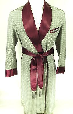 Vtg 50s Atomic Bond Houndstooth Belted Smoking Lounge Robe Mens M
