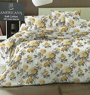 Double Or King Size Gold Victoria Rose Winterwarm Flannelette 4 Piece Sheet Set