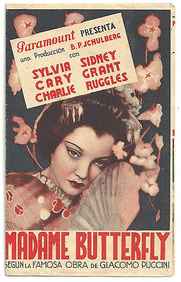 MADAME BUTTERFLY SYLVIA SIDNEY CARY GRANT SPANISH Double HERALD MINI POSTER