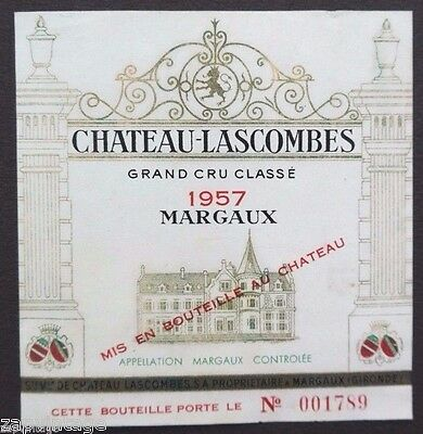 Vintage 1959 Chateau Lascombes Margaux Paper French WINE LABEL