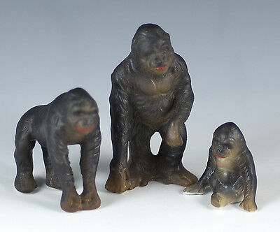 Vintage Miniature 3 Bone China Gorilla Figurines Made In Japan