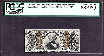 US 50c Fractional Currency Spinner '1' FR 1333 PCGS 58 PPQ V Ch AU