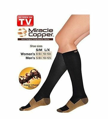 Miracle Copper Socks Anti Fatigue Compression UNISEX with box As Seen On TV