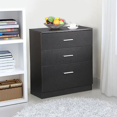 Black Wood 3 Drawer File Storage Cabinet Office Filing Chest of Drawers Cupboard