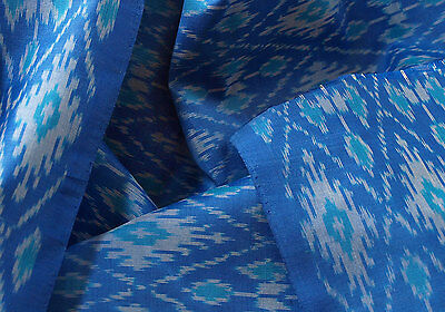 Silk Warp Cotton Weft  Blue Turquoise & White Ikat Hand Woven Soft Fabric 44""