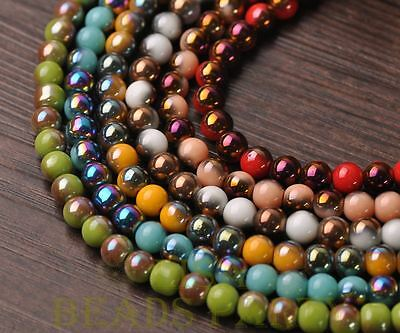 New 100pcs 6mm Round Glass Loose Spacer Beads Random Mixed Color