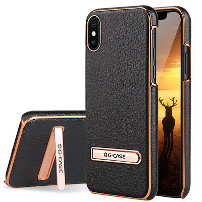 For Apple iPhone X/8/7 Plus Leather Slim Hybrid Hard Case Cover Metal Kickstand