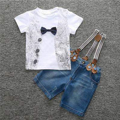 Kids Baby Boys T-Shirt + Denim Pants Jeans Trouser Clothes 2Pcs Outfits Set New