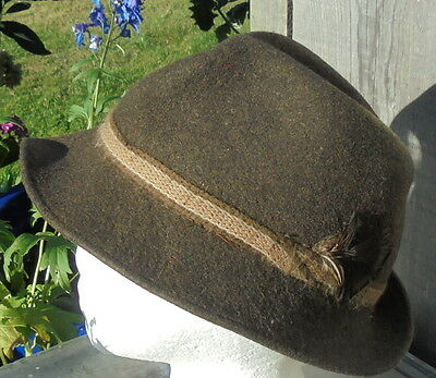 vintage brown trilby hat felt wool excellent condition + feather FREE FAST POST