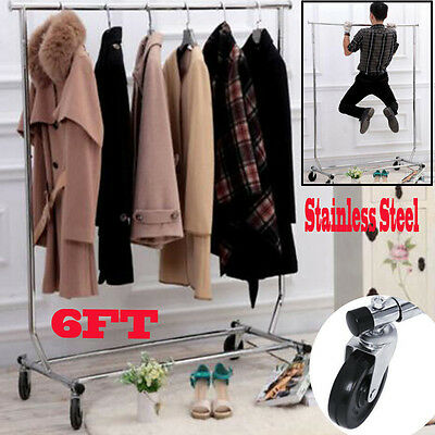6FT Heavy Duty Clothes Rail for Shop Home Garment Hanging Rack Collapsible Stand