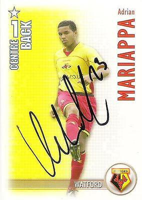 A Shoot Out card Adrian Mariappa at Watford. Personally signed by him 2006-2007.