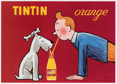 TinTin orangeade advertisement drink Snowy & sidekick poster art print SKU1626