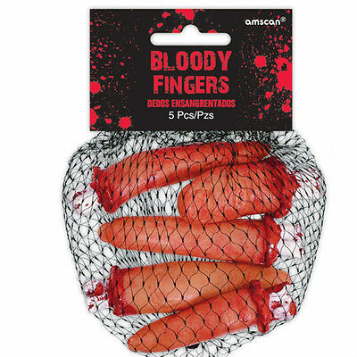 5 x Halloween Severed Bloody Fingers Halloween Props Chop Shop Bloody Body Parts