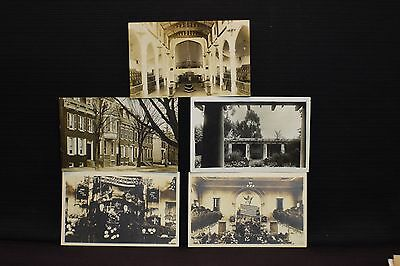 Lot of 5 Early 1900s Real Photo Postcards of Buildings RPPC