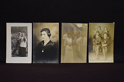 Lot of 4 Early 1900s Real Photo Postcards of People RPPC