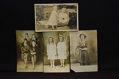 Lot of 4 Early 1900s Real Photo Postcards of Various People RPPC