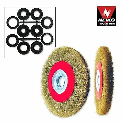 "NEIKO 00328A - 6"" Crimped Wire Brush Wide Face for Bench & Angle Grinder - New"