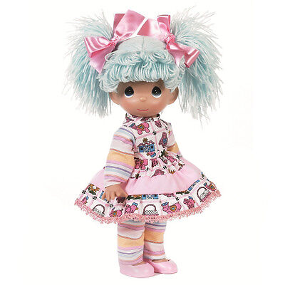 """New PRECIOUS MOMENTS Vinyl Doll RAG A DOO Blue Hair Quilted Pink Dress Bow 9"""""""