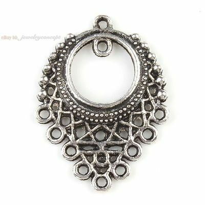 20x 140319 New Hollow Earring Charms Silvery Alloy Connectors Pendant Finding
