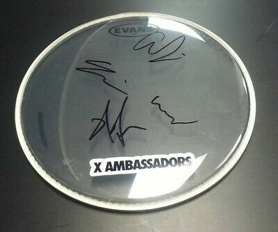 X AMBASSADORS Band Signed Drumhead PROOF Renegades Unsteady