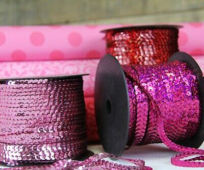 6Mm Sequin String - Big 80 Yd Rolls - 17 Colors - Solid & Holographic Styles