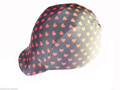 Ecotak lycra horse helmet cover - Black with red hearts