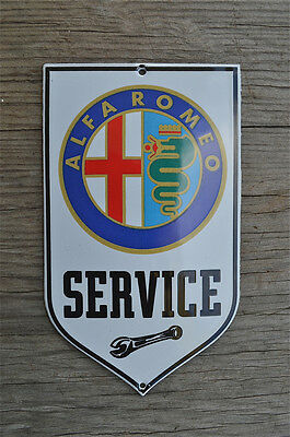 Superb heavy quality porcelain advertising sign Alfa Romeo service garage plaque