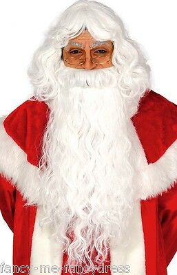 Mens Long White Father Christmas Santa Fancy Dress Costume Outfit Beard & Wig