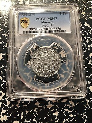 AH 1370 (1950) Morocco 5 Franc PCGS MS67 Lot#G803 Exceptional Example!