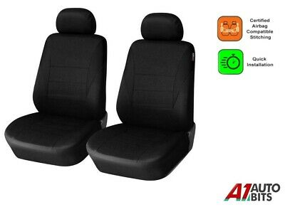 For Citroen Nemo Berlingo Dispatch Fabric 1+1 Black Front Seat Covers