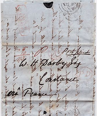 * 1848 Red Oval P-D Of Dover On Rye Letter Not By London To Constanz Via France